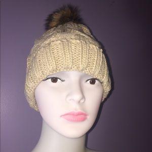 Infinity Raine Accessories - Khaki Cable Knit Beanie W/ Faux Fur Pom